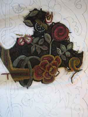 Day 7 Rug Hooking the rose