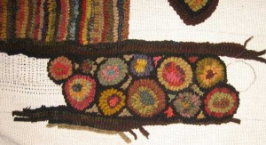 Close up of circle border on room-sized rug