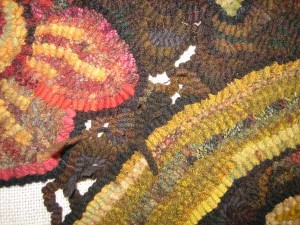 Day 434 of room sized hooked rug background step 2