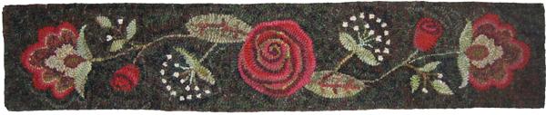Queen Anne Rose rug hooked stair riser