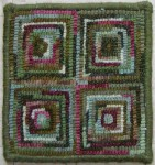 Beginner Square rug hooked coaster