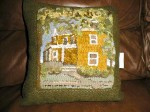 House that Frank Built rug hooked pillow