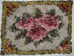 Stenciled Roses wool proddy rug