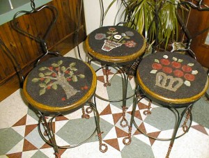 My first rug hooking project, three chairpads, by Cindi Gay