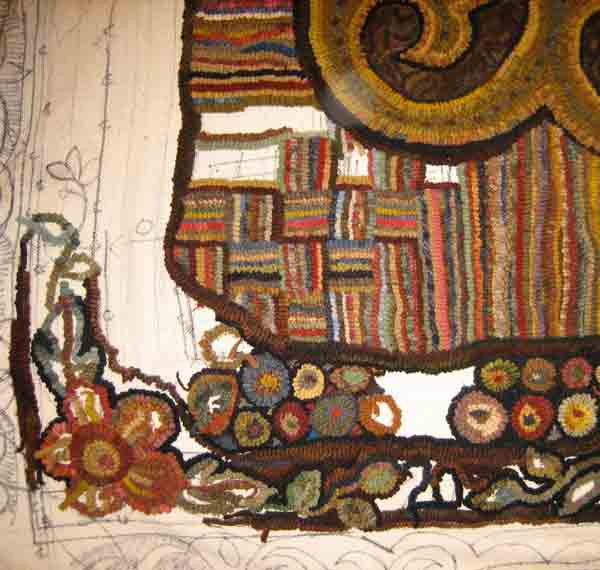 Corner detail on hooked rug