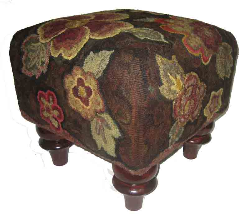 Square Pocketful footstool, hooked by Cindi Gay