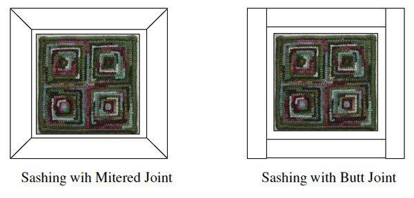 Sashing methods for rug hooked pillow finishing