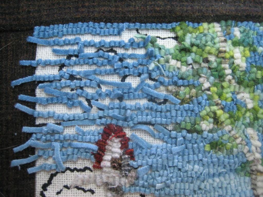 rug hooking a sky