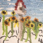How to hook tiny sunflowers in a pictorial