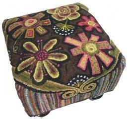 Annie's Flower Power rug hooked footstool by Cindi Gay