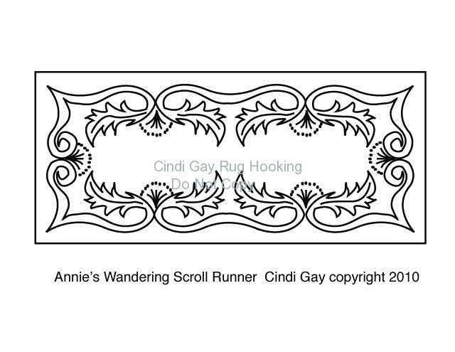 Annie's Wandering Scroll Runner Rug hooking pattern