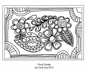 Floral Tangle rug hooking pattern by Cindi Gay