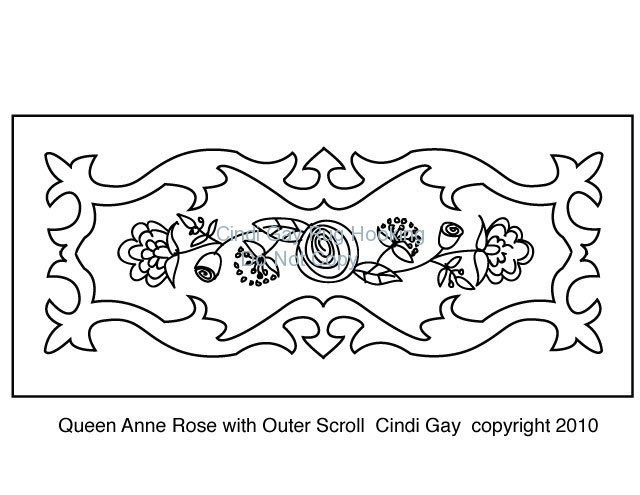 Queen Anne Rose with Outer Scroll Rug hooking pattern