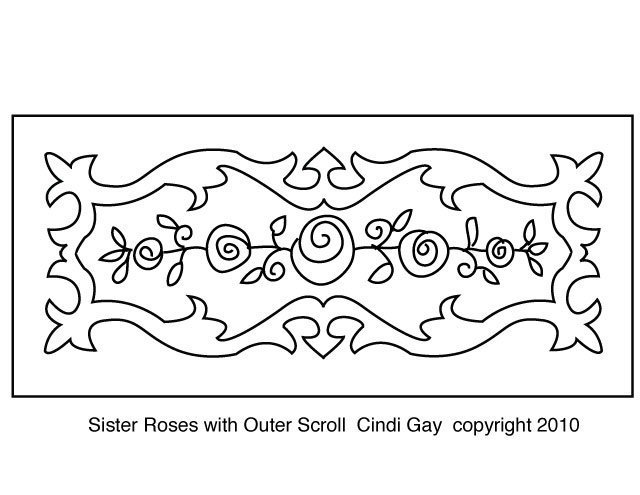 Sister Roses with Outer Scroll Rug hooking pattern