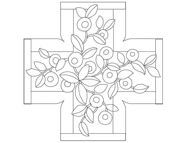 Rug hooking pattern for footstool Teagarden
