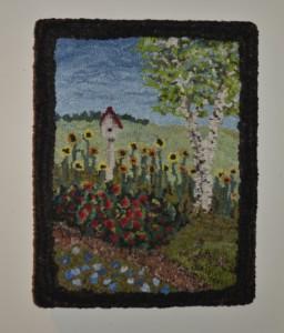 Jasmine's Butterfly Garden hooked by Leigh Ann Dye