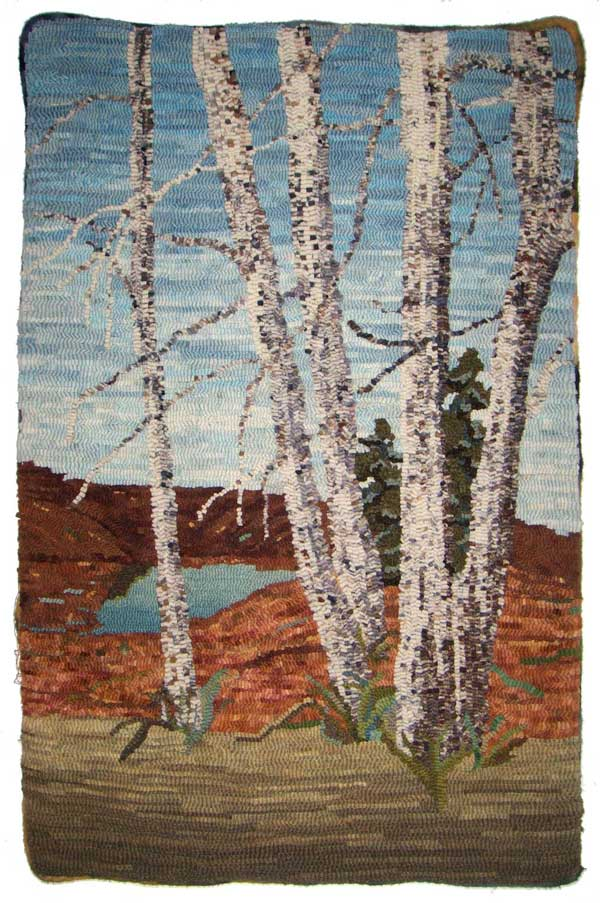 Birch bark hooked trees by Joanne Lindstrom