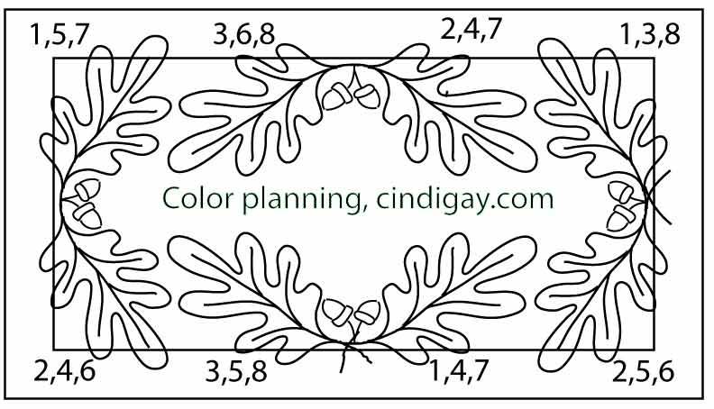 Oak and Acorn rughooking pattern color planning