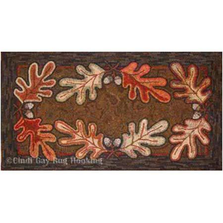 Rug hooking pattern, Oak and Acorns