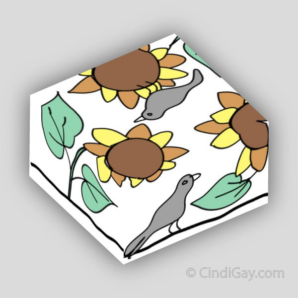 Sunflowers and Crows Footstool Pattern