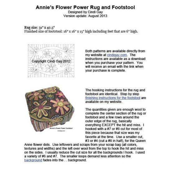Downloadable rug hooking instructions for the Annie's Flower Power rug hooking pattern