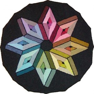 rug hooking color wheel for color planning, hooked by Cindi Gay